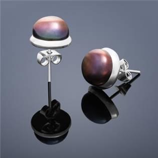 Perlové náušnice Buka , veľké - hnedé perly