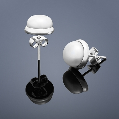 Perlové náušnice Buka veľké - biele perly