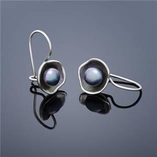 Perlové náušnice Buka Lotus - svetlo modré perly