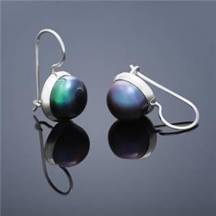 Perlové náušnice Buka , veľké - čierne perly