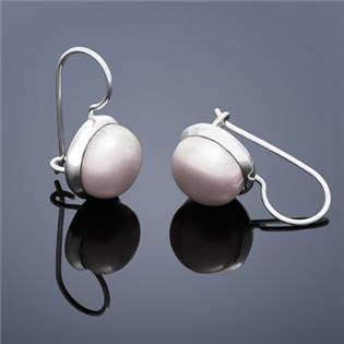 Perlové náušnice Buka , veľké - ružové perly