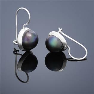 Perlové náušnice Buka , veľké - modré perly