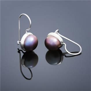 Perlové náušnice Buka , veľké - fialové perly