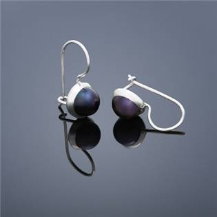 Perlové náušnice Buka , malé - tmavo modré perly