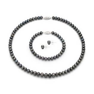 Set perlových šperkov / náhrdelník, náramok, náušnice / s čiernymi perlami