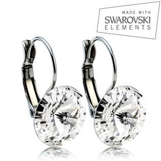 Oceľové náušnice RIVOLI 12 mm, SWAROVSKI® Elements , Crystal