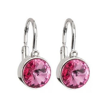 Detské strieborné náušnice s kryštálmi Crystals from Swarovski ®, rose
