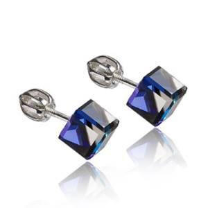 Strieborné náušnice SWAROVSKI® Elements, kocky Bermuda blue