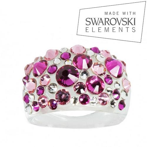 Prsteň s kryštálmi Crystals from Swarovski ®, Fuchsia