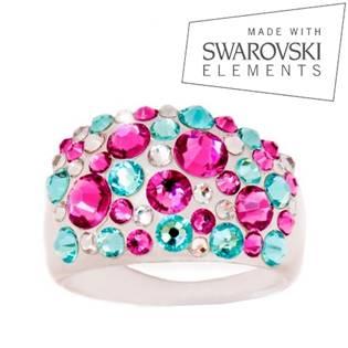 Prsteň SWAROVSKI® Elements - Pink / Turquoise