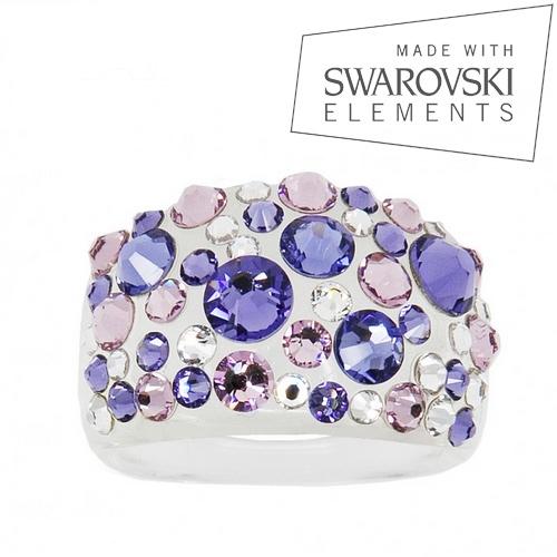 Prsten s krystaly Crystals from Swarovski®, Tanzanite