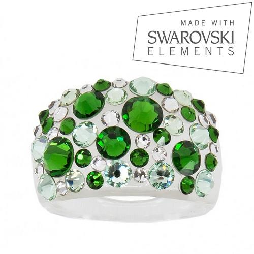 Prsteň s kryštálmi Crystals from Swarovski ®, Green