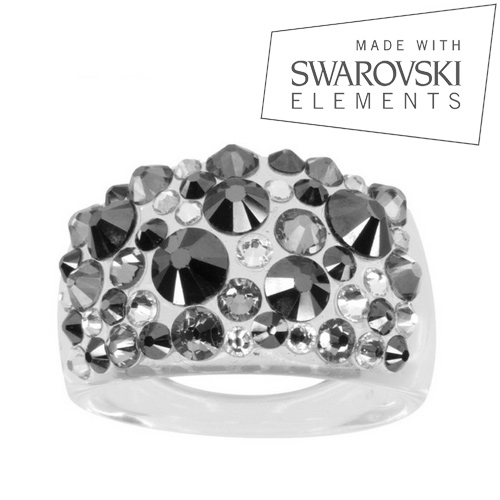 Prsteň s kryštálmi Crystals from Swarovski ®, hematitu