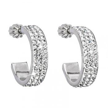 Stříbrné náušnice s krystaly Crystals from Swarovski® kruhy 17 mm EG2032-CR