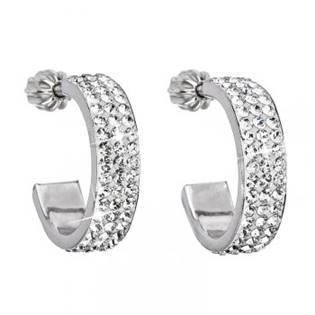 Stříbrné náušnice s krystaly Crystals from Swarovski® kruhy 17 mm