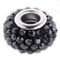 Pavé přívěšek - korálek s JET krystaly