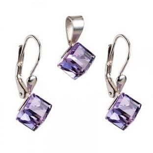 Strieborný set náušnice + prívesok, SWAROVSKI® Elements, kocky Violet