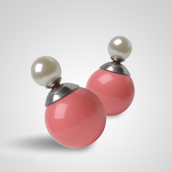 Moderné oceľové náušnice - perličky / guličky koralové