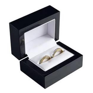 Čierna drevená darčeková krabička na svadobné prstene