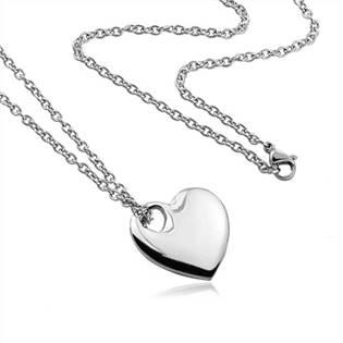 Šperky4U Ocelový řetízek s přívěškem - srdíčko - OPE1168