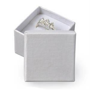 Darčeková krabička na prsteň biela