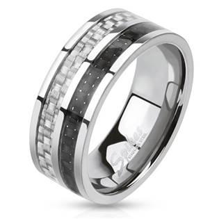 Páský ocelový prsten s karbonem