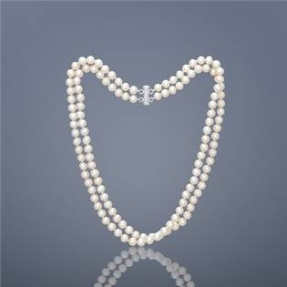 Dvojradový perlový náhrdelník Buka AAA - biele perly