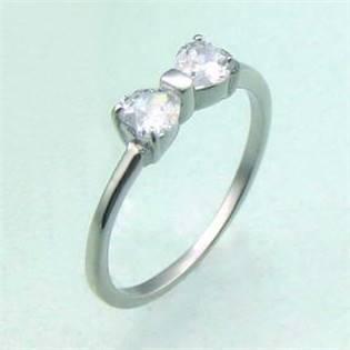Oceľový prsteň - mašlička so zirkónmi