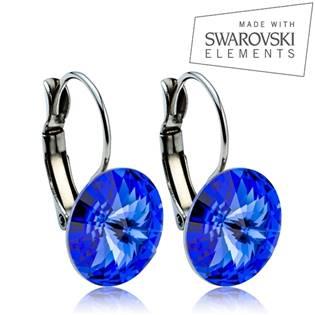 Oceľové náušnice RIVOLI 12 mm, SWAROVSKI® Elements , Sapphire