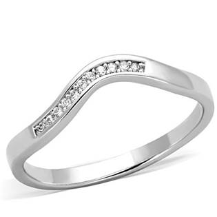 Asymetrický prsteň - vlnka so zirkónmi