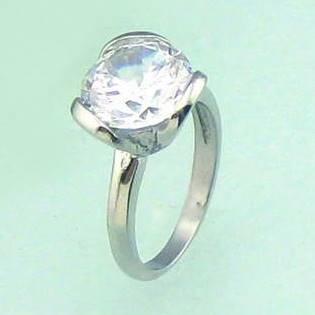 Oceľový prsteň so zirkónom