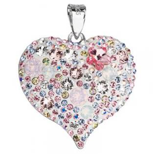 Strieborný prívesok srdce SWAROVSKI® Elements, magic rose