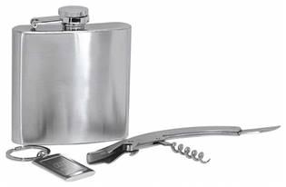 Ocelová kapesní lahev - placatka 180ml + otvírací nůž+ klíčenka