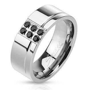 Pánský ocelový prsten s černými zirkony