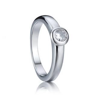 Zásnubní ocelový prsten se zirkonem