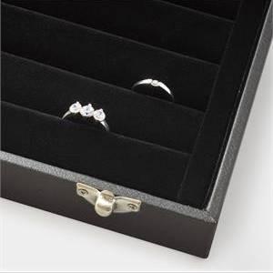 Čierne koženkové plato na prstene s vekom