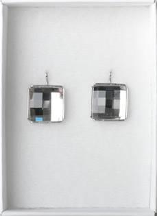Strieborné náušnice šachovnica SWAROVSKI® Elements, šachovnica Crystal