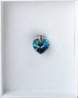 Strieborný prívesok srdce SWAROVSKI® Elements, modrá
