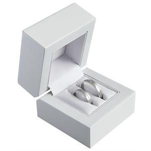 Biela drevená darčeková krabička na svadobné obrúčky