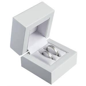 Biela drevená darčeková krabička na svadobné prstene