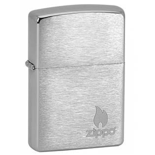 ZIPPO Logo & Flame - benzínový zapalovač broušený