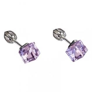 Strieborné náušnice SWAROVSKI® Elements, kocky Violet