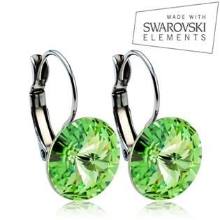 Oceľové náušnice RIVOLI 12 mm, SWAROVSKI® Elements , Peridot