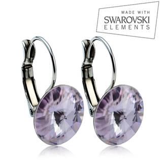 Oceľové náušnice RIVOLI 12 mm, SWAROVSKI® Elements , Violet