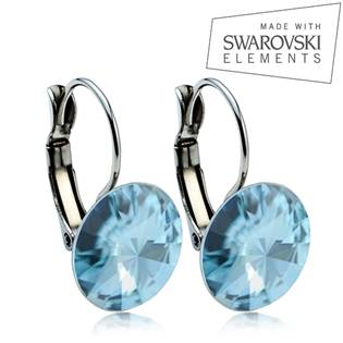 Oceľové náušnice RIVOLI 12 mm, SWAROVSKI® Elements , Aquamarine