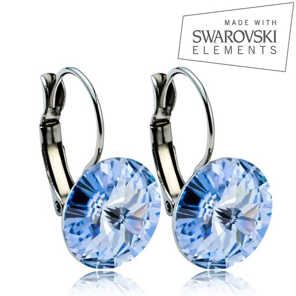 Ocelové náušnice s krystaly Swarovski® 12 mm, LIGHT SAPPHIRE