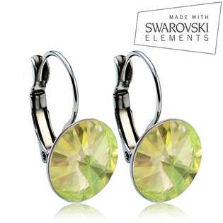Oceľové náušnice RIVOLI 12 mm, SWAROVSKI® Elements , Luminous Green