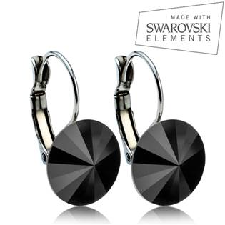 Oceľové náušnice RIVOLI 12 mm, SWAROVSKI® Elements , Jet Black
