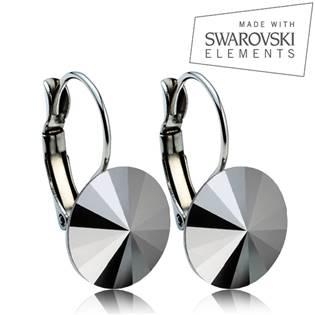 Oceľové náušnice RIVOLI 12 mm, SWAROVSKI® Elements , Jet hematit
