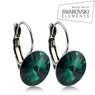 Oceľové náušnice RIVOLI 12 mm, SWAROVSKI® Elements , Emerald